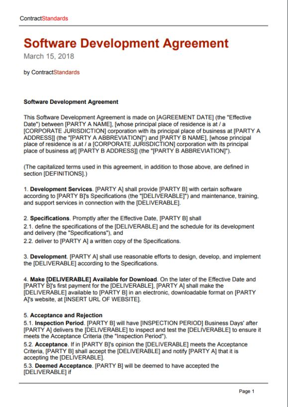 Software Work for Hire Agreement Template