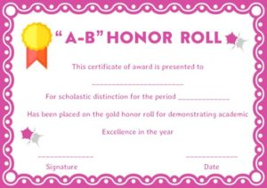ab Honor Roll Certificates