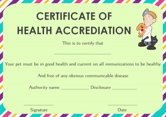 Dog Health Certificate for Travel Template
