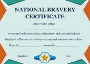 National Bravery Award Certificate